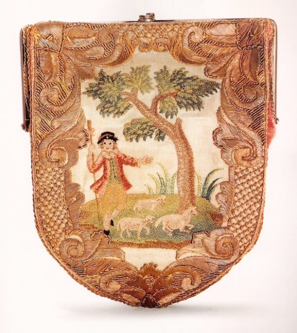 French-shield-shaped-18th-century-embroidered-purse-27